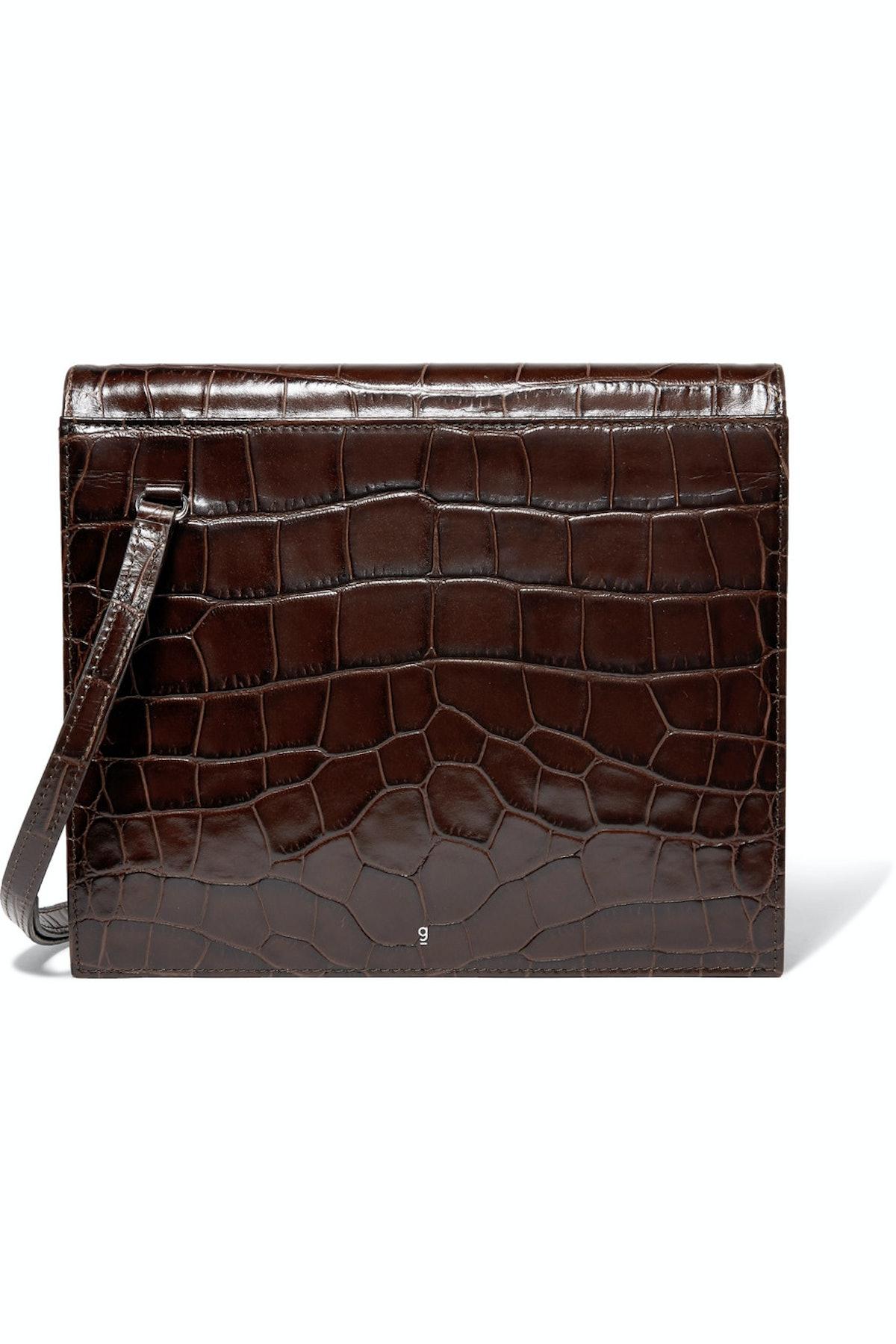 Edie Croc-Effect Leather Shoulder Bag