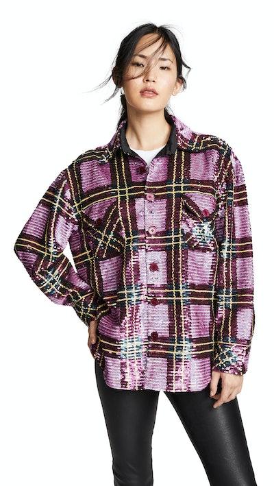 ASHISH Sequin Grid Overshirt