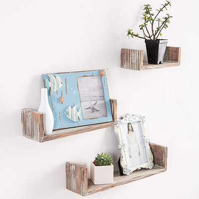 Wall Mounted Torched Wood U-Shaped Floating Shelves