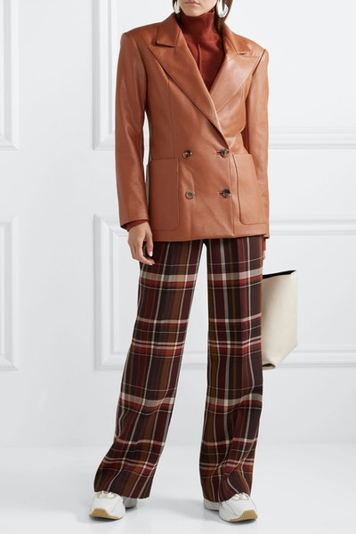 Checked Wool And Silk-Blend Flared Pants