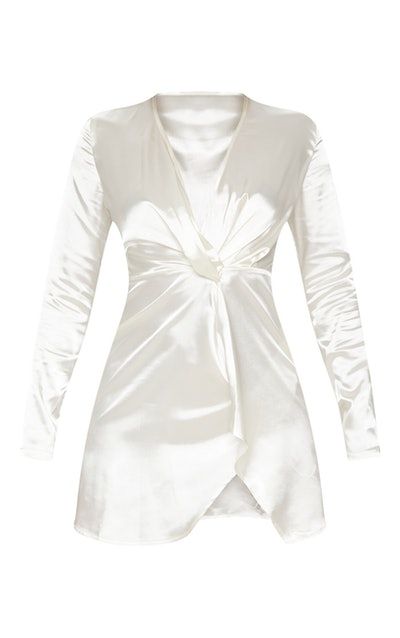 White Twist Front Plunge Long Sleeve Bodycon Dress
