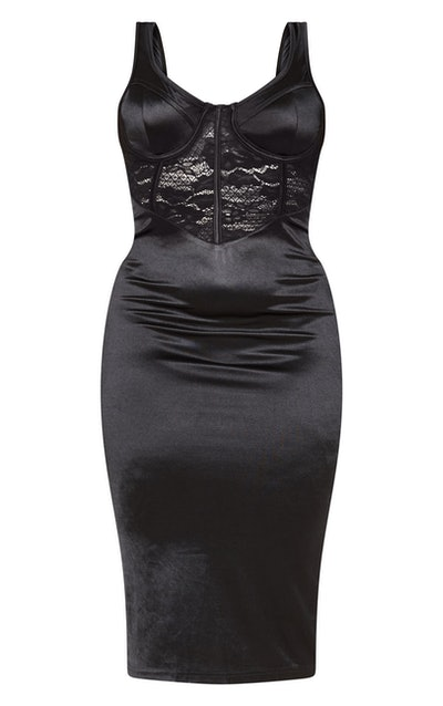 Black Satin Bustier Insert Midi Dress