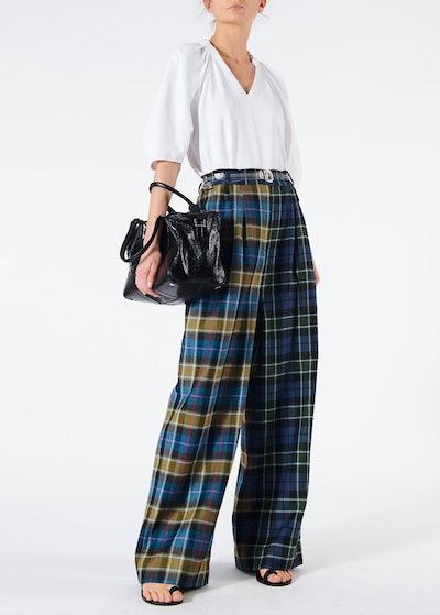 Tartan Stella Wide Leg Paperbag Pants With Removeable Belt