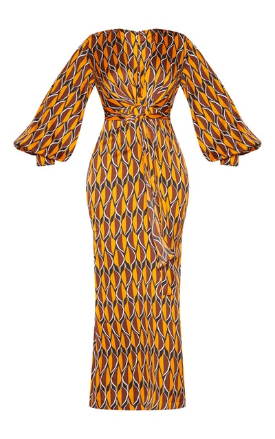 Burnt Orange Geo Print Satin Maxi Dress