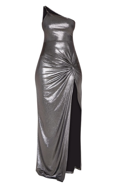 Black Metallic One Shoulder Knot Detail Dress