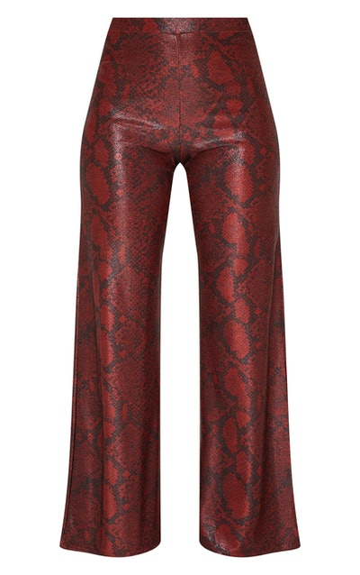 Maroon Metallic Snake Wide Leg Trousers