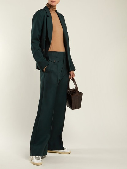 Pleated Wide-Leg Crepe Trousers