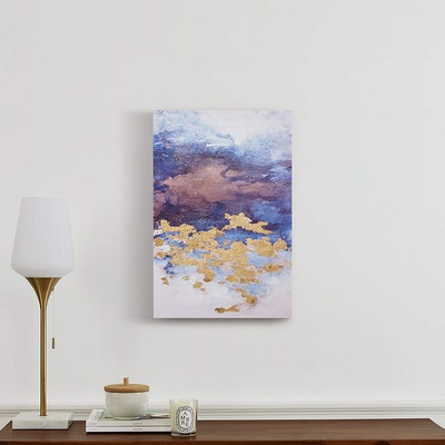 Abstract Clouds With Gold Leaf Accent On Canvas
