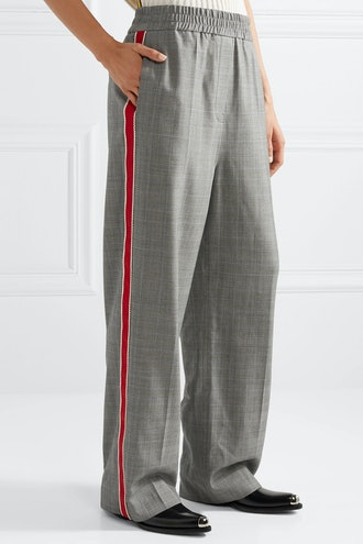 Striped Prince of Wales Checked Wool Straight-Leg Pants