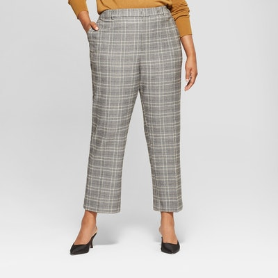 Plus Size Plaid Split Back Relaxed Ankle Trouser