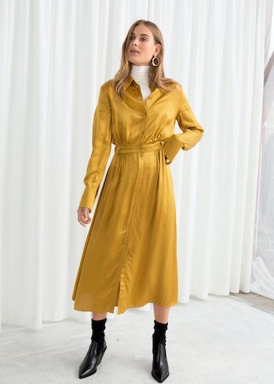 Belted Satin Midi Dress