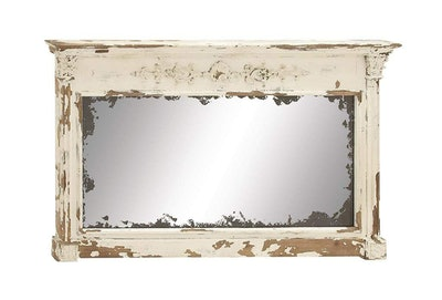 Antique White Wood Vintage Wall Mirror