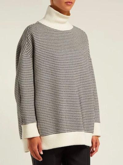 High-Neck Houndstooth Cotton-Blend Sweater