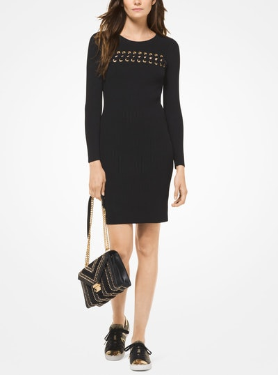 Lace Front Ribbed Dress