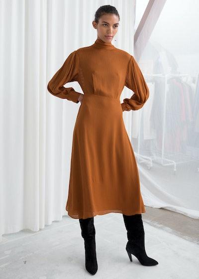 Sheer Stripe Midi Dress