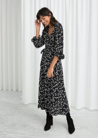 Petal Printed Wrap Dress