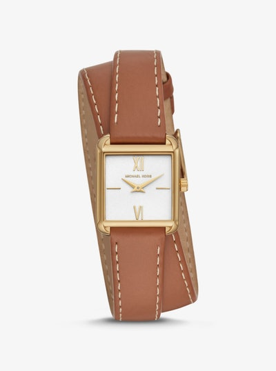 Lake Gold Tone and Leather Wrap Watch