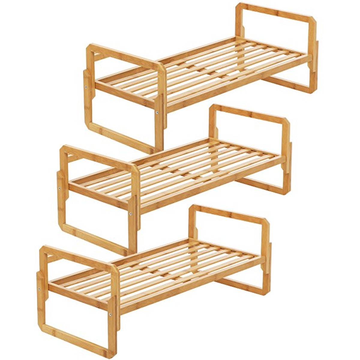 Songmics Stackable Bamboo Shoe Rack, Pack Of 3