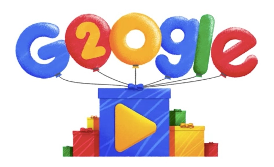 google s 20th birthday doodle highlights popular searches from the