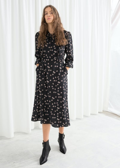 Floral Printed Ruffle Bib Midi Dress