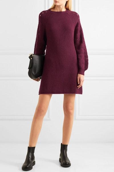 Ribbed And Crochet-Knit Mini Dress