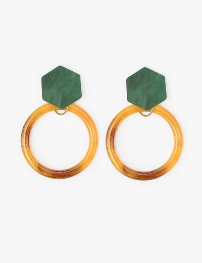 Green Geometric Earrings