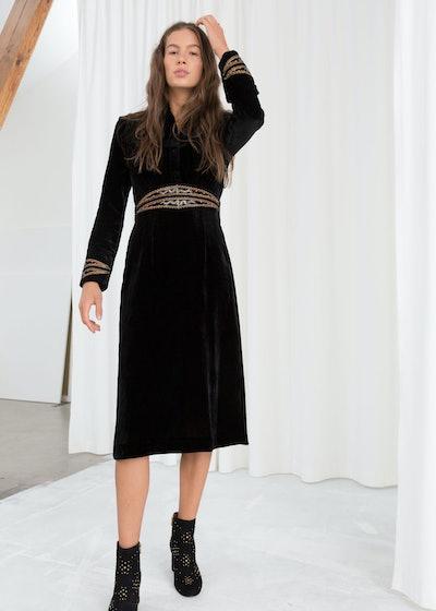 Velvet Embroidered Midi Dress
