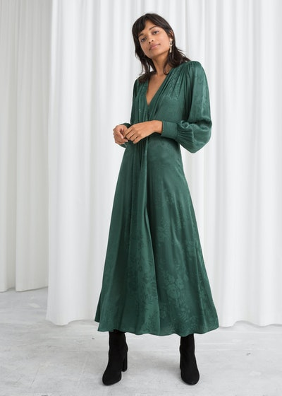 Ruched Jacquard Midi Dress