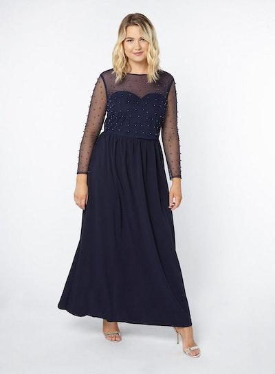 Little Mistress Navy Blue Mesh Overlay Maxi Dress