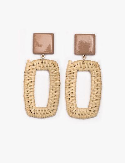 Rectangle Straw Earrings