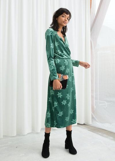 Floral Velour Wrap Dress