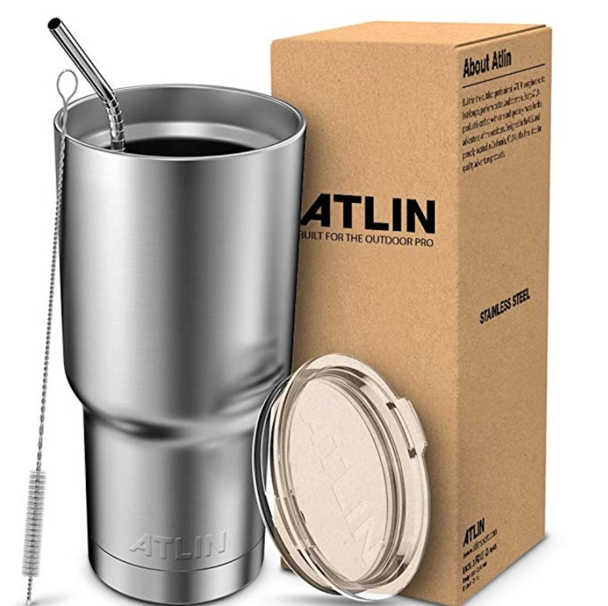 Atlin Stainless Steel Tumbler With Straw, 30 oz