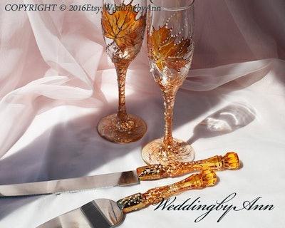 Fall Wedding Cake Server Set & Knife