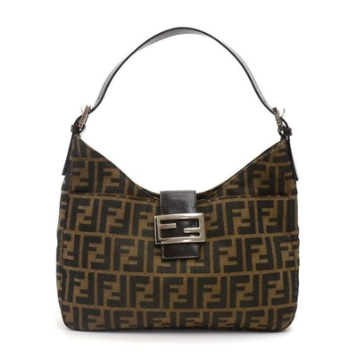 Tobacco Zucca Monogram Leather Small Hobo Brown Canvas Shoulder Bag