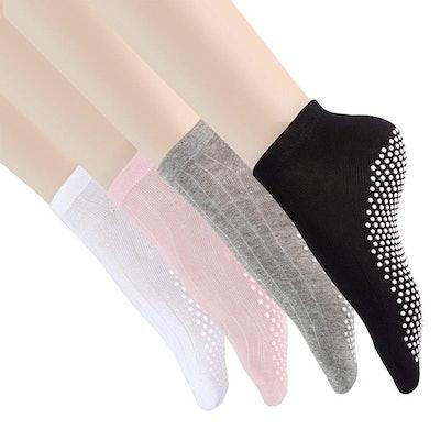 Cooque Non-Slip/Skid Cotton Socks (Pack Of 4)