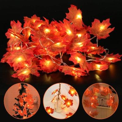 SunAngel 20 LEDs Maple Leaves Garland String Lights