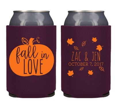 Rustic Personalized Fall in Love Can Coolers