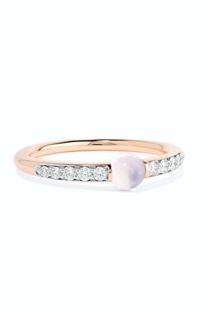 M'ama non M'ama 18-karat rose gold, diamond and moonstone ring