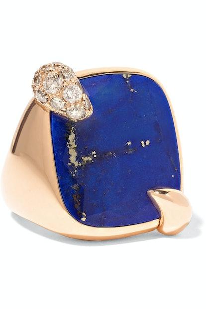 18-karat rose gold, lapis and diamond ring