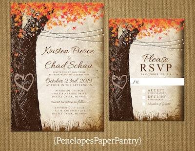 Elegant Rustic Fall Wedding Invitation