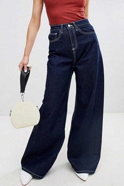 Wide Leg Jean With Contrast Stitch