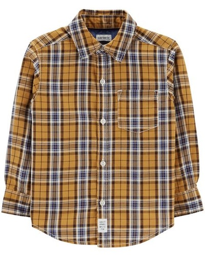 Plaid Woven Button-Front Shirt