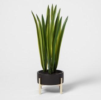 Faux Grass In Black Planter