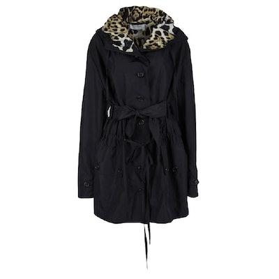 Black Paris Contrast Lined Tie Detail Belted Coat