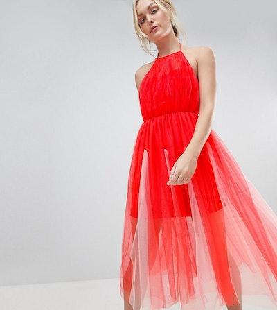 Halter Tulle Godet Midi Dress