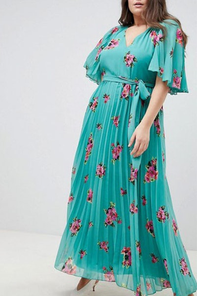 Curve Floral Flutter Sleeve Pleated Maxi Dress