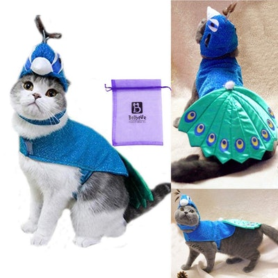 Bro'Bear Pet Peacock Costume with Hat for Cats