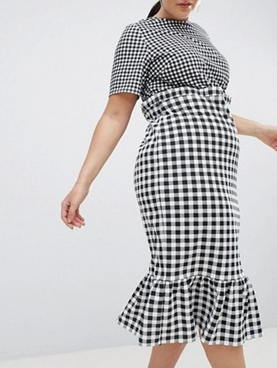 Midi Dress With Pep Hem In Contrast Check
