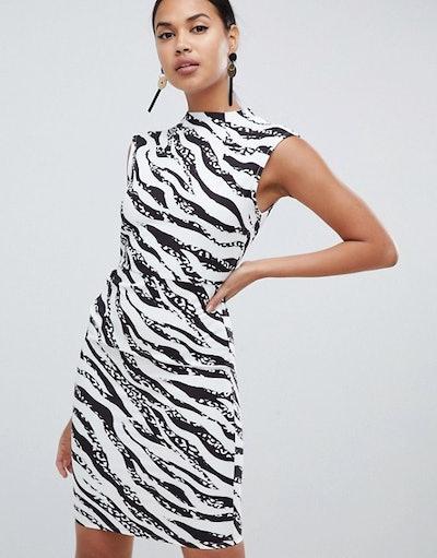 ASOS DESIGN mini pencil dress with tuck detail in zebra print
