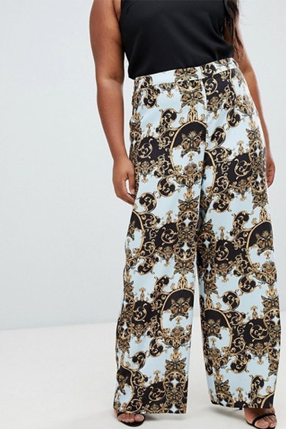 Tailored Soft Wide Leg Pants In Scarf print
